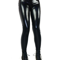 Black Faux Leather Bandage Leggings