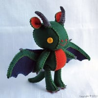 Bygone the Dragon Wool Felt Plush Art Doll by nonesuchgarden