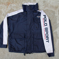 Very Rare Vtg Polo Sport Spell Out Jacket W/ Hide Away Hood Sz. S