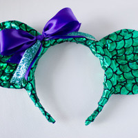 Little Mermaid Inspired Mickey Mouse Ear Headband
