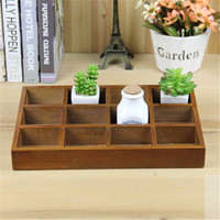 Grocery Wooden Retro 12 Lattice Wood Desktop Jewelry Fleshy Storage Box