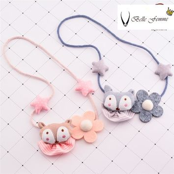 Korea New Handmade Cute Imported Cloth Cartoon Bear Colorful Star Children Kids Girl Necklaces Fashion Jewelry Accessories