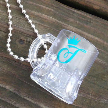 Monogrammed Shot Glass Necklace Personalized Shot Glass Bachelorette Party 21st Birthday Sorority Beach