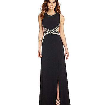 Blondie Nites Contrast Waist Open Back Gown | Dillards.com