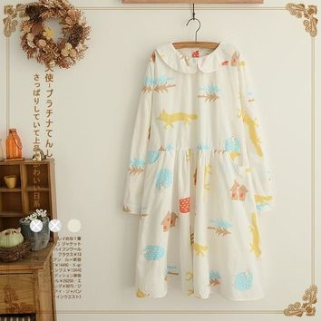2016 Autumn Mori Girl Japaness Style Cat Fox Tree Printed Peter Pan Collar Loose Pocket Long Sleeve Dress 3Model Kawaii Lolita
