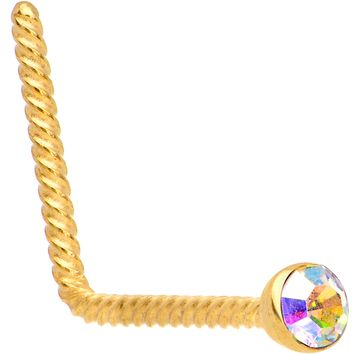 Aurora 2mm Gem Inlay Gold IP So Twisted L Shaped Nose Ring