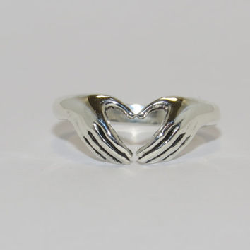 Hands heart ring - Claddagh ring, Sterling Silver Claddagh Ring, Silver Heart Ring, Girlfriend, Best Friend, Friendship ring