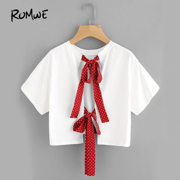 ROMWE Bow Tie Split Back Crop Top Polka Dot Strap Cute Tee Shirt 2018 Women White Sweet Tops O Neck Casual Ladies Cotton T-Shirt