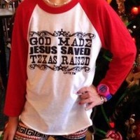 Lil Cowgirls Red Sleeve God Made Shirt