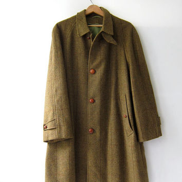 Vintage Mens Wool Coat. Olive Green Overcoat. Long Herringbone Coat. Winter Coat.