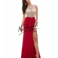 Sheer Illusion Bodice Red Dress
