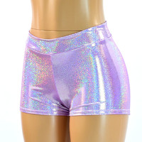 Mid Rise Lilac Purple Holographic Spandex Booty Shorts