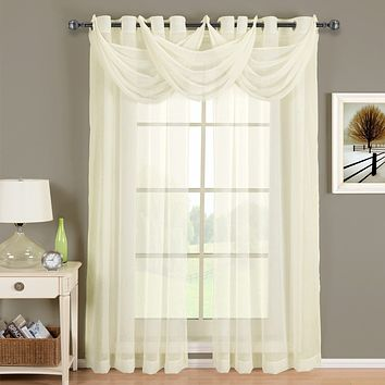 Ivory Abri Grommet Crushed Sheer Curtain (Single Valance or Panel)
