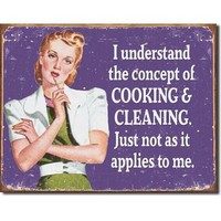 Cooking and Cleaning Housewife Distressed Retro Vintage Tin Sign
