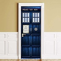"Sticker for Door / Wall / Fridge - Policebox. Peel & Stick Removable Mural, Decole, Skin, Wrap, Decal, Cover, Poster. All sizes (30""x80"")"