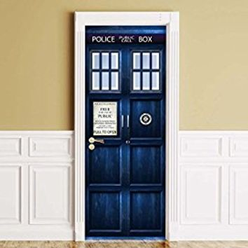 """Sticker for Door / Wall / Fridge - Policebox. Peel & Stick Removable Mural, Decole, Skin, Wrap, Decal, Cover, Poster. All sizes (30""""x80"""")"""