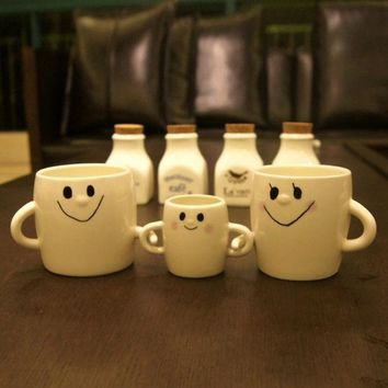 ESBU3C 3Pcs/combo Cute Smile Mom Dad Son Family Mug Mug A Family Of Three Parent-Child Couple Cups Creative Coffee Cup Ceramic Hand