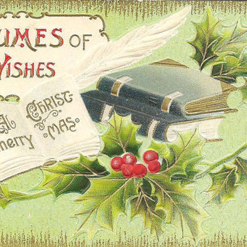 Volumes of Good Wishes Vintage Christmas Postcard Solomon Brothers Books and Holly