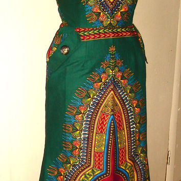 The Classic Empress Dashiki Dress (Deep Red & Pink)