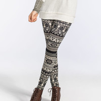 Full Tilt Paisley Tribal Print Womens Leggings Cream/Black  In Sizes