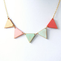 Pastels with Gold Large Wooden Bunting Necklace