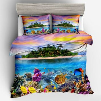 Cool Ocean sea fish 3D Bedding Set Duvet cover set Twin queen king Beautiful cartoon fashion pattern Real effect lifelike bedclothesAT_93_12
