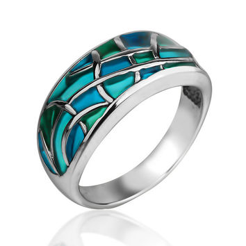 turquoise ring stained glass turquoise jewelry blue ring green ring enamel ring sterling silver ring handmade jewelry gifts for her
