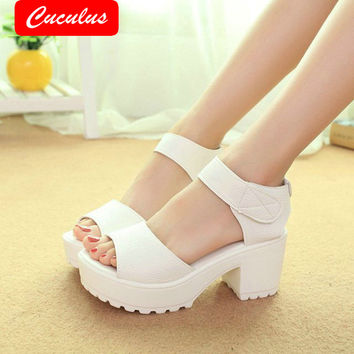 Cuculus Big Size 35-41 Fashion Party Shoes Woman Sexy High Heels Summer Pumps Ankle Strap Sandals Women Shoes Free Shipping 315