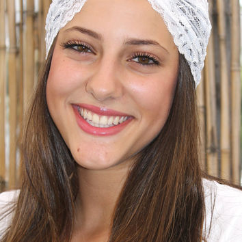 White and Blue Headband Turban Head Wrap Women Hair by TopStyle1