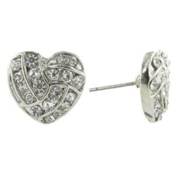 I Love Volleyball Heart Shaped Rhinestone Stud Earrings - with Clear Crystals