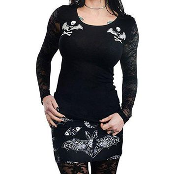 Too Fast Apparel Women's Bat Lace Crossbones Kelly Lace Back Long Sleeve Top
