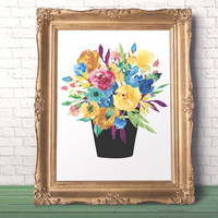 Bouquet Flower Art Print Hello fall Rustic wall art  Fine Art Floral Print  Fashion Gift Chic cottage decor Country wall art Floral art