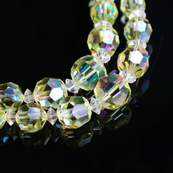 Vintage Yellow Aurora Borealis Crystal Necklace - Layered Double Strand Faceted Glass Bead Costume Jewelry Signed Laguna / Sparkle