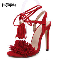 celebrity fashion runway streetwear womens fetish sandals open toe tassel fringe suede leather lace up ankle strap heel pumps