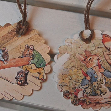 Beatrix Potter Gift Tags, Peter Rabbit Party Favor Tags, Thank You Tags, Birthday Party Decoration, Party Bag Tags, Baby Shower Favor Tags