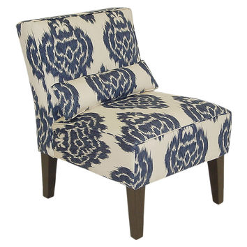 Bergman Armless Chair, Navy/Off-White, Accent & Occasional Chairs