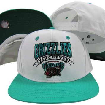 Vancouver Grizzlies White/Teal Two Tone Snapback Adjustable Plastic Snap Back Hat / Cap