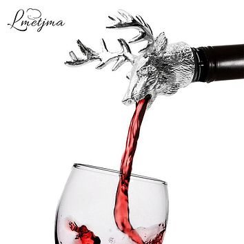 LMETJMA Stainless Steel Deer Stag Head Wine Pourer Unique Wine Bottle Stoppers Wine Aerators Bar Tools KC0818-1