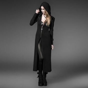 Steampunk Coat with Long Witches's Hats Gothic Black Knitting Hoody Long Trench Coats