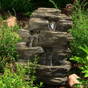 Outdoor Stone Rock Water Fountain For Garden Yard Decor Water Feature With Led