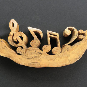 Music Rocks Wood Sculpture - Spalted Sycamore - Scrolled - Item 632