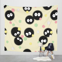 Spirited Away Soot Sprites with Konpeito Sugar Candy Wall Tapestry by Pi Design Prints