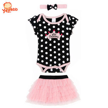 2016 New Fashion Baby Clothing Set Baby Girl Sets Romper+Tutu Skirt+Headband Newborn bebe Spring Summer Baby Girl Clothes