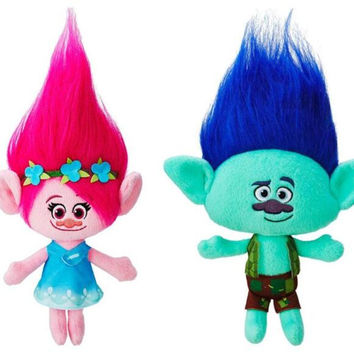 23cm Trolls Mega Town The Good Luck Trolls Ogres Poppy Branch Dream Works Doll Cartoon Movie Plush Toy Stuffed Dolls Anime Gift