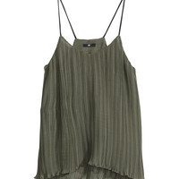 H&M - Pleated Tank Top - Khaki green - Ladies