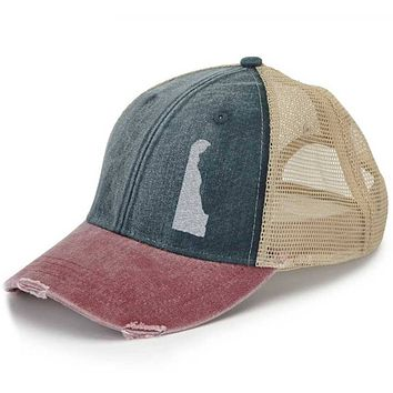 Delaware  Hat - Distressed Snapback Trucker Hat - off-center state pride hat - Pick your colors