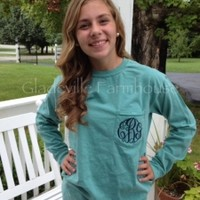 Monogrammed Long Sleeve Comfort Colors Pocket Tee Shirt