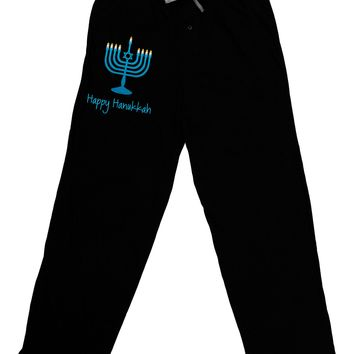 Happy Hanukkah Menorah Adult Lounge Pants - Black
