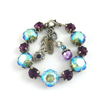 Swarovski® Crystal Bracelet, 12mm Cushion Cut Erinite Shimmer NEW 2017/2018 Color, 8mm Amethyst, Cute Charms, Antique Silver or Brass Finish