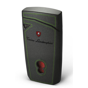 Tonino Lamborghini Magione Metallic Gray With Green Lines Torch Flame Cigar Lighter
